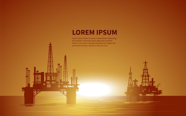 Oil rigs. oil production. illustration. Premium Vector
