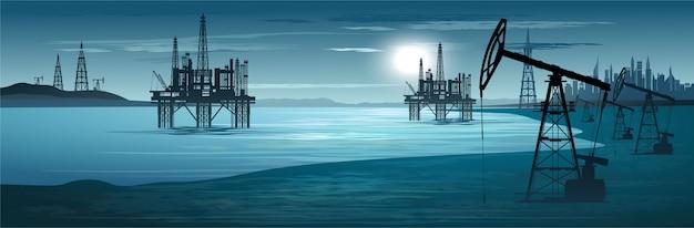 Oil rigs. oil production. illustration Premium Vector