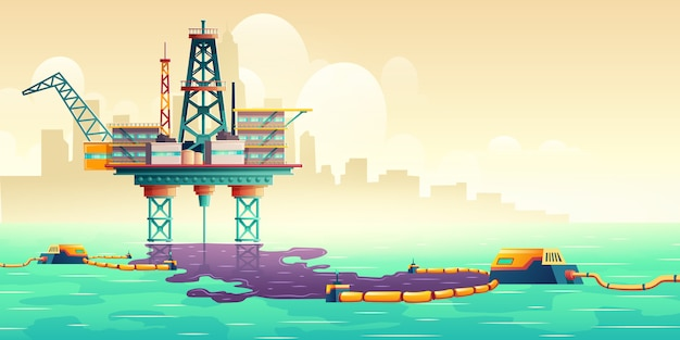 Oil spill liquidation technology illustration concept Free Vector