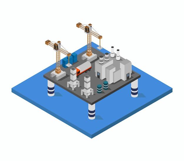 海の等尺性の石油タンカータワー 無料ベクター