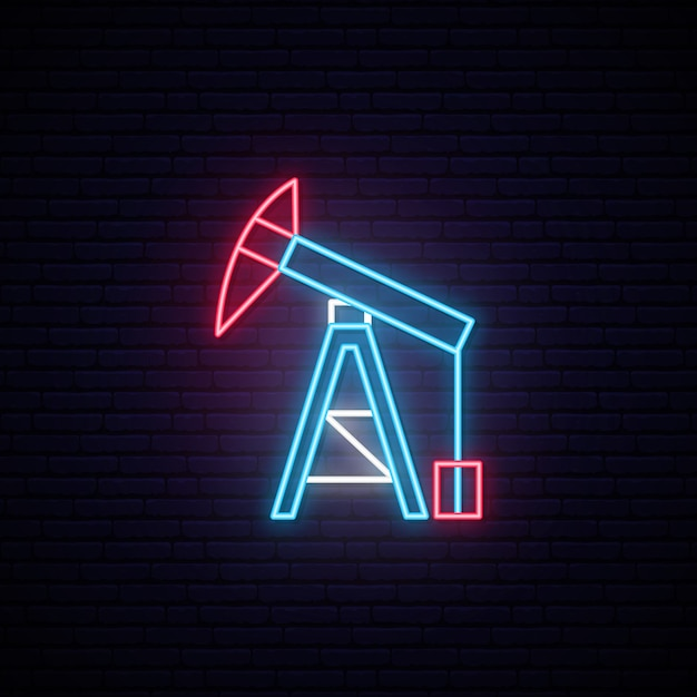 石油タワーネオンサイン。 Premiumベクター