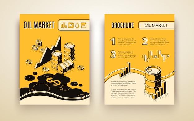 Oil trading brochure Free Vector