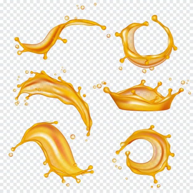 Oil yellow splashes. golden liquids and drops vector realistic template Premium Vector
