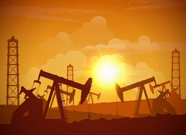 Oilfield poster Free Vector