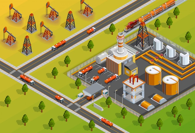 Oill industry refinery facility isometric poster Free Vector