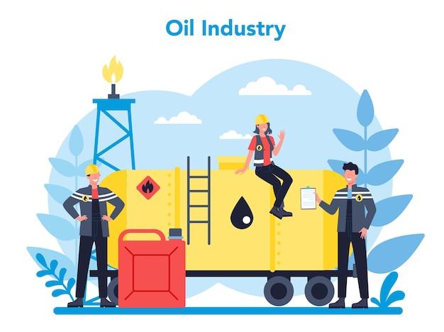 石油会社と石油産業の概念。地球の腸から原油を抽出するポンプジャック。石油生産とビジネス。孤立したフラットベクトル図 Premiumベクター