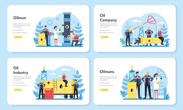 石油会社と石油業界のwebランディングページセット。地球の腸から原油を抽出するポンプジャック。石油生産とビジネス。孤立したフラットベクトル図 Premiumベクター