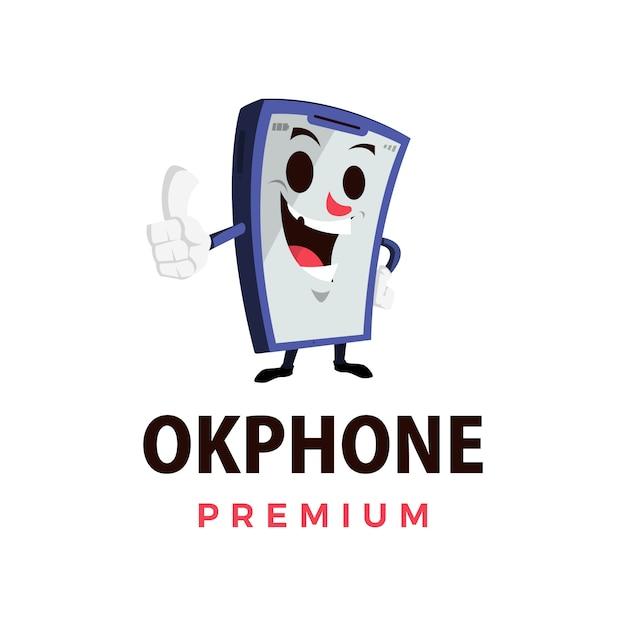 Ok phone thump up mascot character logo  icon illustration Premium Vector