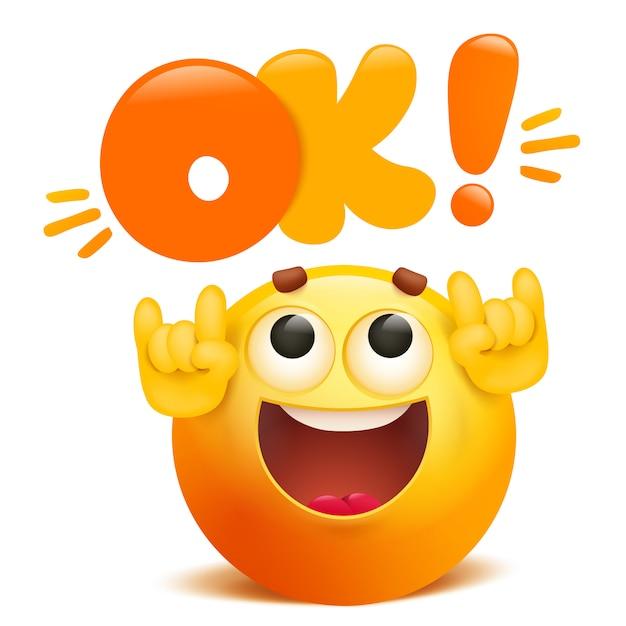 Ok yellow emoticon cartoon funny emoji character | Premium Vector