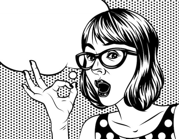 驚いた顔できれいな女性のコミックアートスタイルの黒と白のイラスト。眼鏡をかけた女性が手を握ってokサインを示します。 Premiumベクター