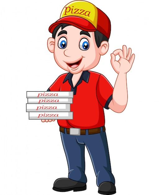 Okのサインを示すピザ配達員 Premiumベクター