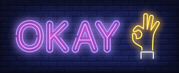 Okay neon sign Free Vector