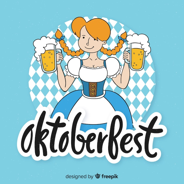 Oktoberfest background hand drawn style Free Vector