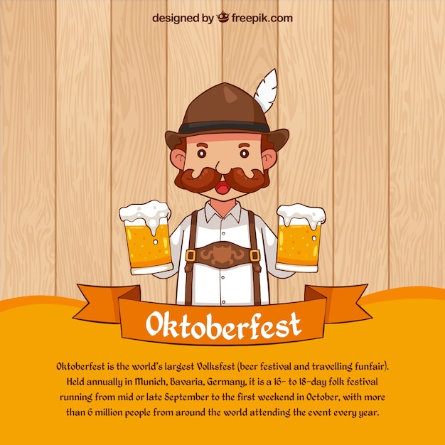 Oktoberfest background of man with beers Free Vector