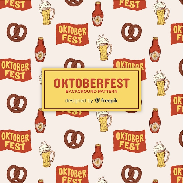 Oktoberfest background pattern with food and drink elements Free Vector