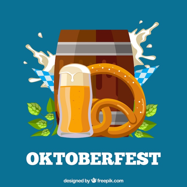 Oktoberfest background with barrel and other typical elements
