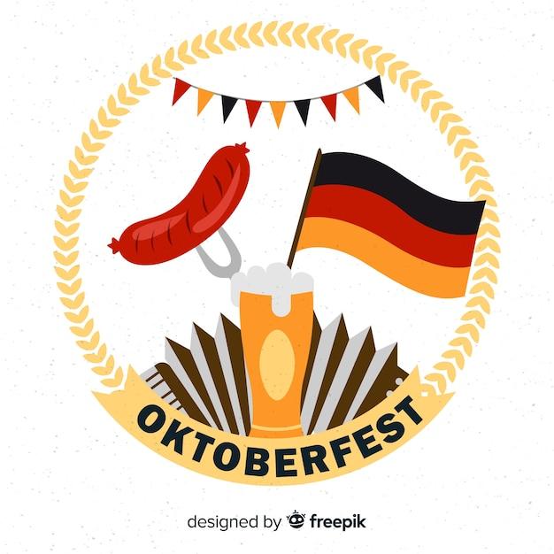 Октоберфест с пивом и колбасой Бесплатные векторы