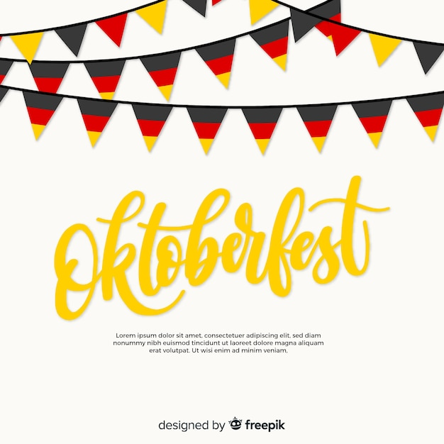 Oktoberfest background with colorful garlands Free Vector