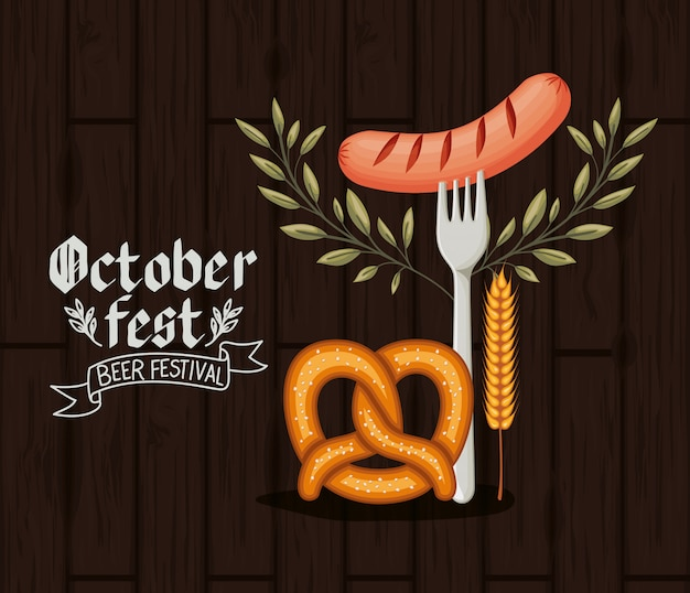 Oktoberfest background with food Premium Vector