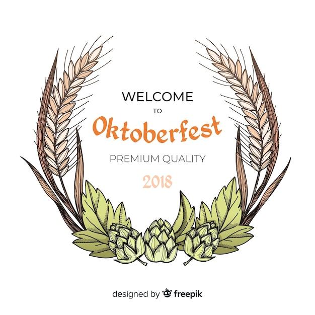 Oktoberfest background with hand drawn ingredients Free Vector