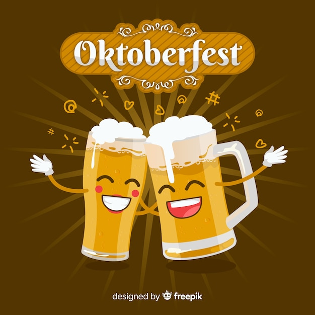 Oktoberfest background with jars of beer in flat design Free Vector