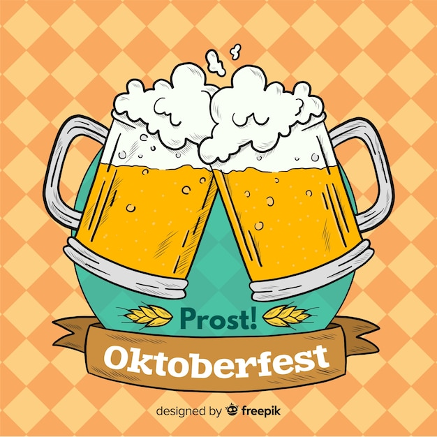 Oktoberfest background with jars of beer Free Vector