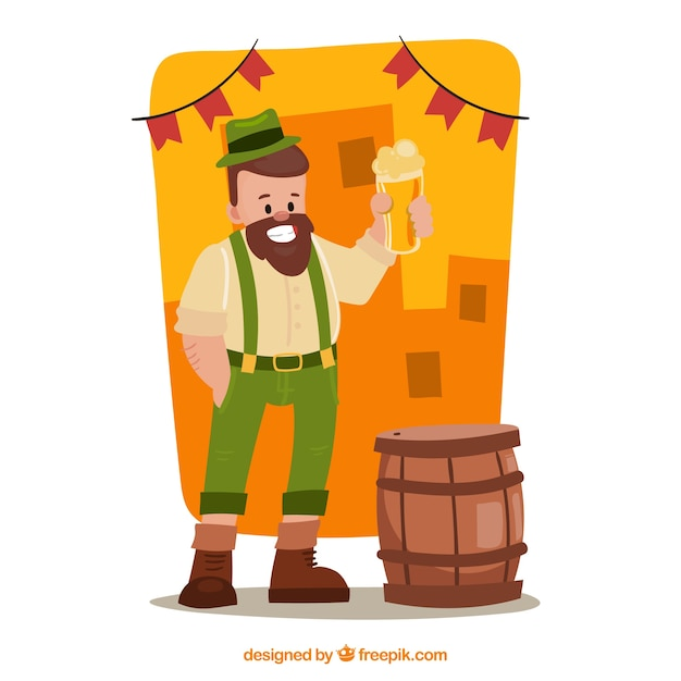 Oktoberfest background with man character