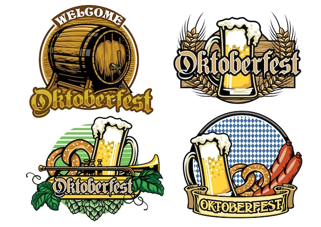 Oktoberfest badge design collection in full colored Premium Vector