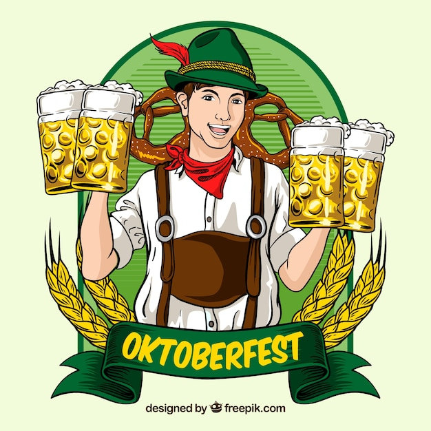 Oktoberfest, badge with beer
