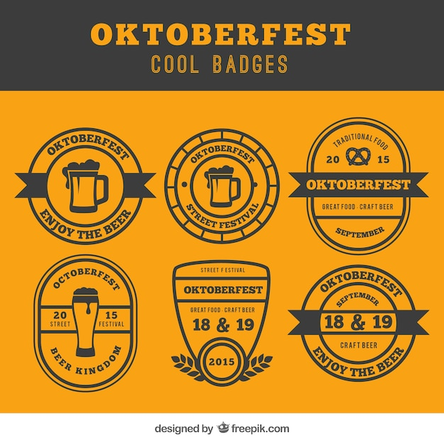 Oktoberfest badges in cool style