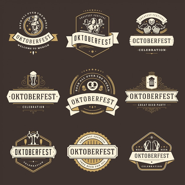 Oktoberfest badges and labels or logo set vintage Premium Vector