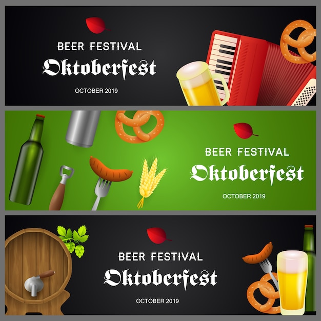 Oktoberfest banner collection Free Vector