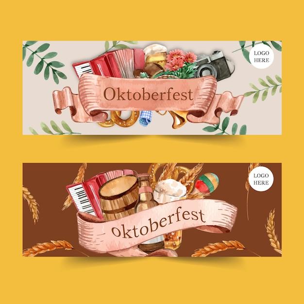 Oktoberfest banner design with pretzel, beer Free Vector