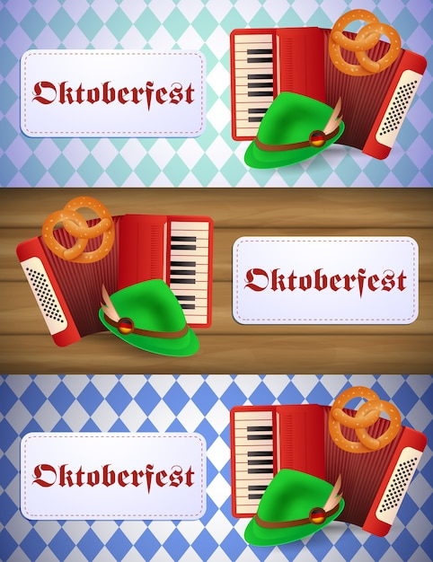 Oktoberfest banner set with accordion Free Vector
