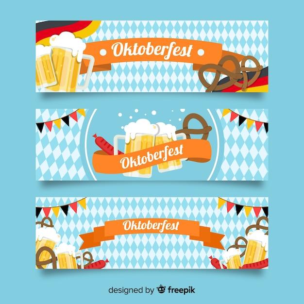 Oktoberfest banner template flat design Free Vector
