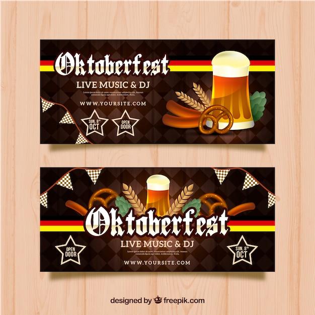 Oktoberfest banner with beer, sausages and pretzels
