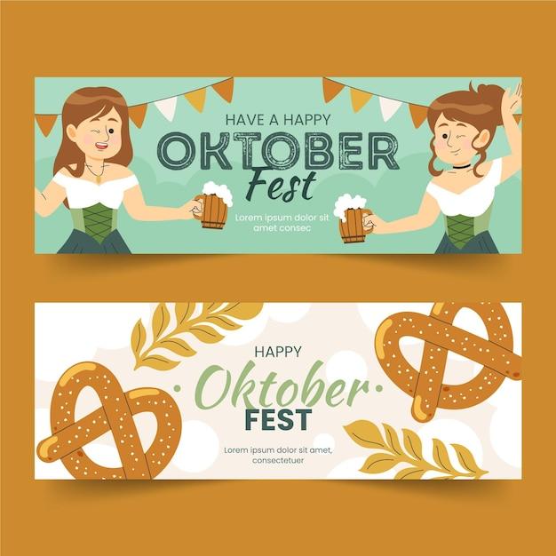 Oktoberfest banner banner disegnati Vettore gratuito