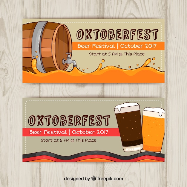 Oktoberfest banners with barrel and beer