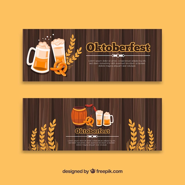 Oktoberfest banners with beer, pretzel and wheat