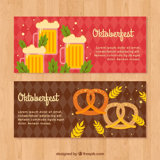 Oktoberfest banners with beers and pretzel
