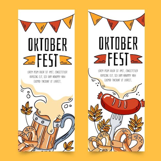 Октоберфест баннеры с напитками и едой Бесплатные векторы