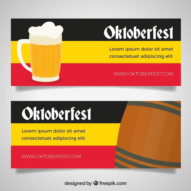 Oktoberfest banners with german flag and beer
