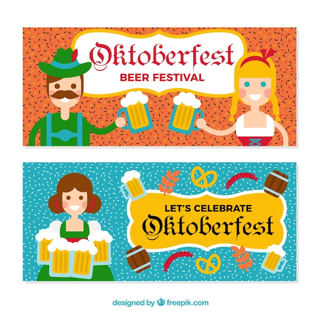 Oktoberfest banners with people in traditional german costumes