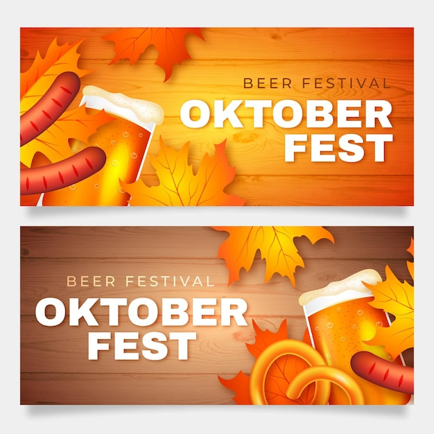 Oktoberfest banners with sausages and beer Free Vector