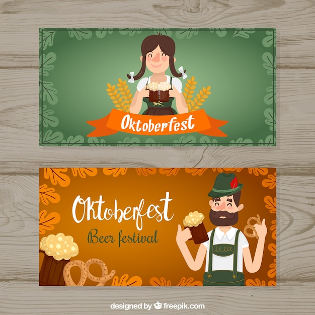 Oktoberfest banners with traditional german people