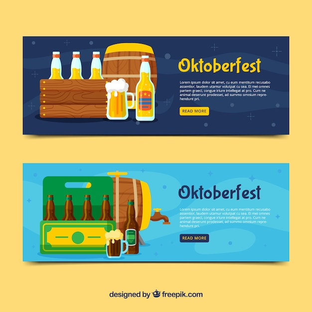 Oktoberfest banners with variety of beer