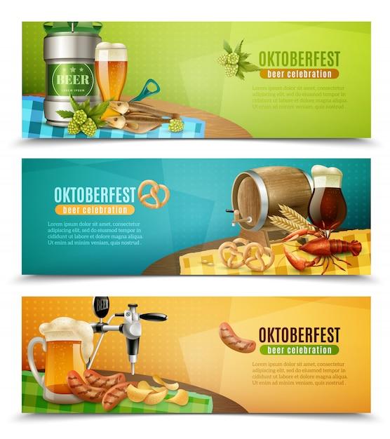 Oktoberfest beer 3 horizontal banners set Free Vector