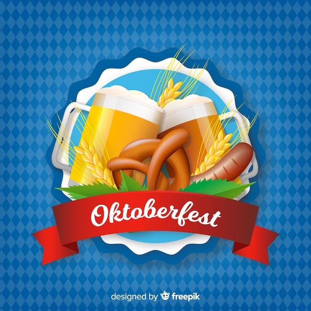 Oktoberfest beer background realistic style Free Vector
