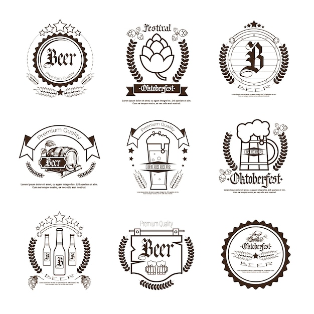 Oktoberfest beer festival badge set Premium Vector