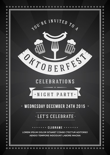 Oktoberfest beer festival celebration party retro typography poster Premium Vector